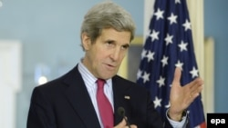 U.S. Secretary of State John Kerry was speaking from Kyiv.