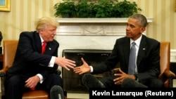 Президент Б. Обама президентликка сайланган Д. Трамп билан учрашувда, 10 ноябрь, 2016