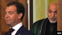 Russian President Dmitry Medvedev (left) and his Afghan counterpart Hamid Karzai during bilateral talks in August