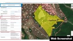 Ділянка з пересохлим Туристським ставком на публічній кадастровій карті Росії