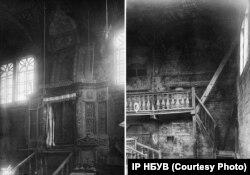 На фото ліворуч ‒ арон кодеш синагоги у Смотричі. Саме там зберігали сувої Тори. На фото праворуч ‒ сходи на хори молитовного залу