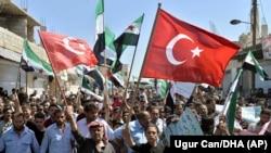 Демонстрация солидарности с Турцией в Идлибе
