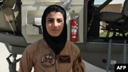 Afghan Air Force Captain Niloofar Rahmani before she sought asylum in the United States.