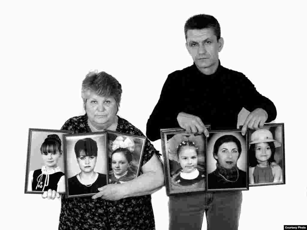 Lidiya and Sergei Urmanov - In those September days of 2004, Lidiya lost her daughter Larisa Rudik-Urmanova, grandchildren Yulia, Yana, Zalina, Maneshka and daughter-in-law Rita. Her other daughter-in-law Natalya and her son were severely wounded. The first victim was 12-year-old Yana. She suffered from diabetes and died in the gymnasium on the second day, in front of her mother. There was no medicine. Zalina was starting first grade in 2004. She was 6 1/2 years old. Eight people from the family left for school that day. Only two returned.