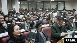 Afghan parliamentarians at an assembly session on January 11 in Kabul, where lawmakers are debating the Afghan president's second list of nominees.