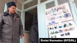 Милиция имаратынын алдына илинген уурдалган жана табылган уйлардын сүрөтү. Аксы району, 6-март, 2014.