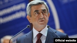 Armenian President Serzh Sarkisian speaks at the Council of Europe's Parliamentary Assembly in Strasbourg on June 22.