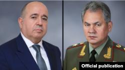 Министр обороны Армении Аршак Карапетян (слева) и министр обороны РФ Сергей Шойгу