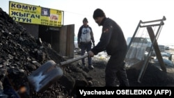 Men sell coal on the outskirts of the Kyrgyz capital, Bishkek. (file photo)