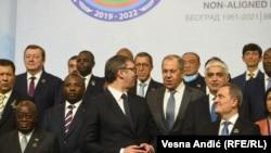 Predsednik Srbije Aleksandar Vučić sa ministrom spoljnih poslova Rusije Sergejem Lavrovim i predstavnicima država članica Pokreta nesvrstanih