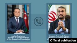 Министры иностранных дел Ирана и Азербайджана - Хусейн Амир Абдуллахиян (справа) и Джейхун Байрамов