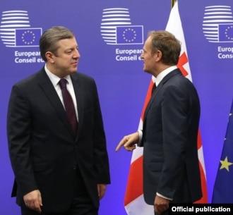 Двухдневный визит премьер-министра Грузии в Брюссель начался со встречи с президентом Европейского совета Дональдом Туском