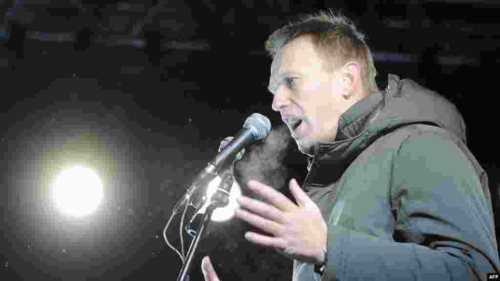 One of the protest movement leaders, Alexei Navalny, addresses the opposition rally.