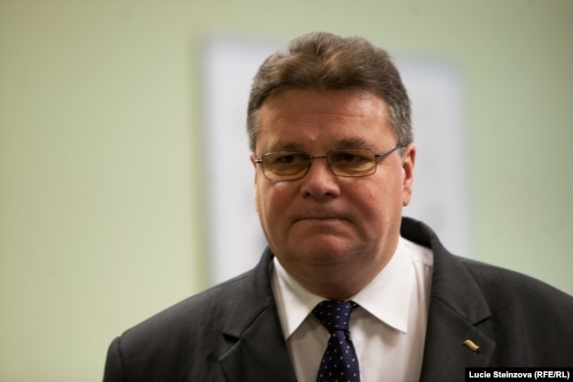 Lithuanian Foreign Minister Linas Linkevičius at RFE/RL headquaters in Prague