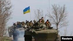 Колонна украинской бронетехники под Краматорском