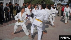 Afghanistan -- A Group of Sportsmen Performing Taekwondo in Balkh Province, October 28, 2013.