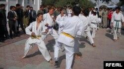 Afghanistan -- A Group of Sportsmen Performing Taekwondo in Balkh Province, October 28, 2013.