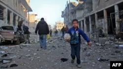 Сириядағы Идлиб қаласының маңында түсірілген сурет. 12 қаңтар 2017 жыл.