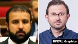 Провластный депутат Айк Саргсян (слева) и оппозиционный депутат Гегам Манукян