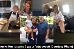 На фото слева — Венера Гафарова с Адрианой Эльвирой, фото в центре — Рустам и Гульсина Миннихановы с внучкой и на фото справа — Венера Гафарова в одном из бизнес-джетов.