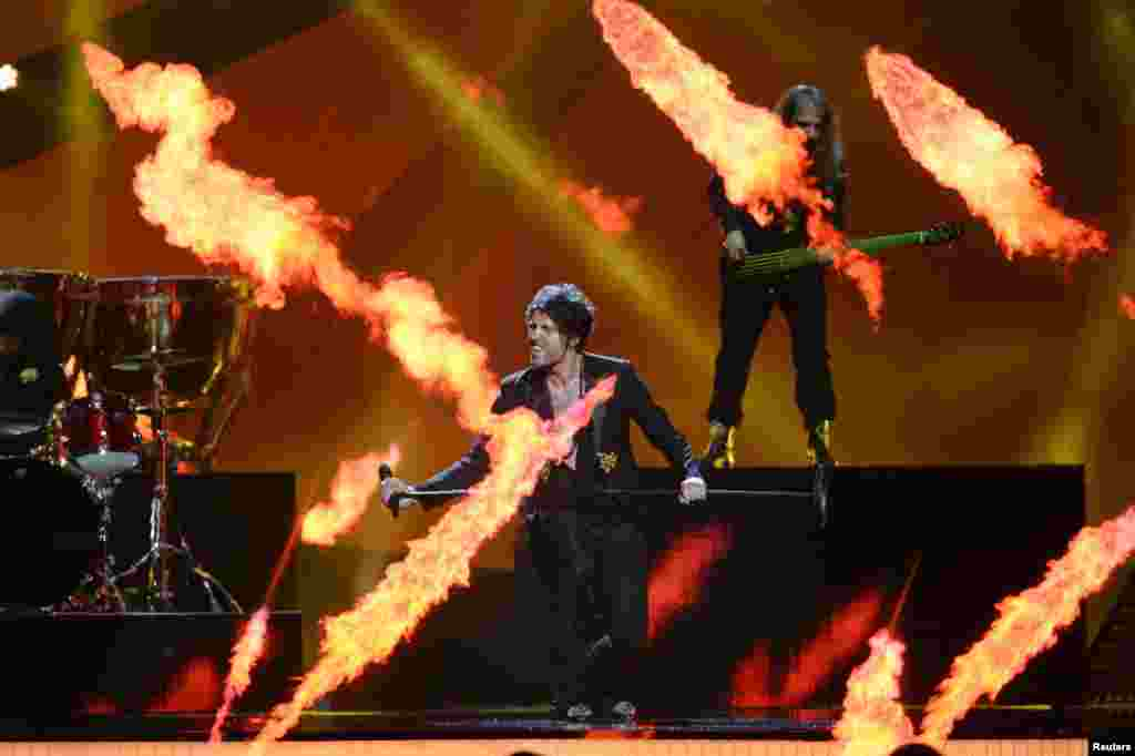 Albania's Adrian Lulgjuraj and Bledar Sejko perform during dress rehearsals for the second semifinal at the 2013 Eurovision Song Contest in the Malmo Opera Hall in Sweden on May 15. (Reuters/Khalil Ashawi)