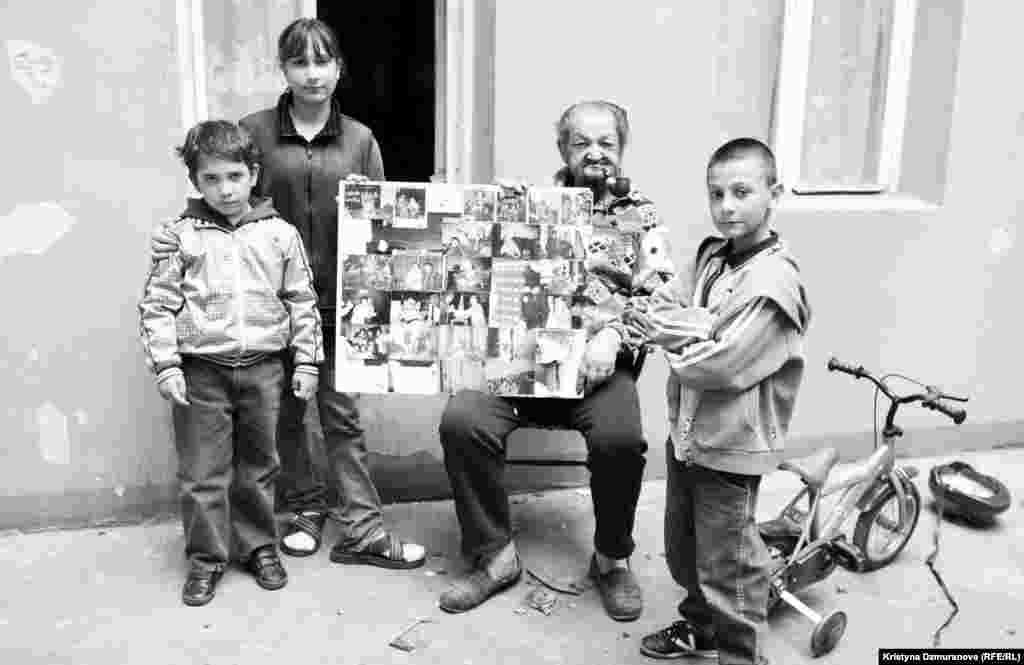 The youngest pose with the oldest. Jan Batiy, 82, the uncle of Jana Cinova, proudly shows a collage of family photos. Before he settled in Prague in the 1950s, he used to trade cattle in Slovakia. He later worked at the main train station in Prague.