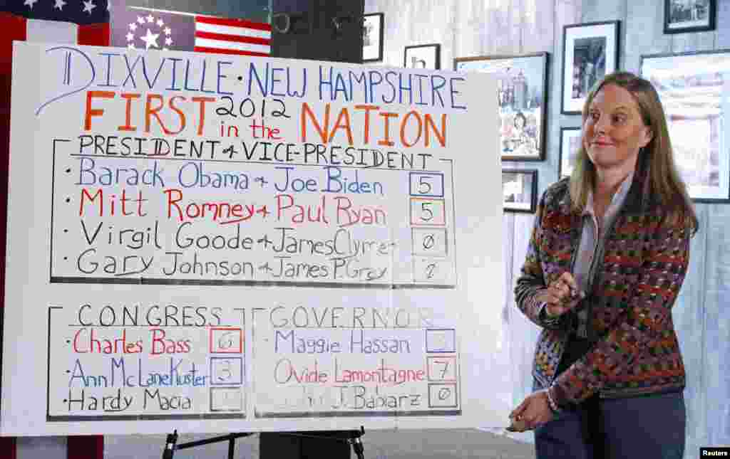 Donna Kaye Erwin posts the results after the 10 registered voters in Dixville Notch cast the first election-day ballots.