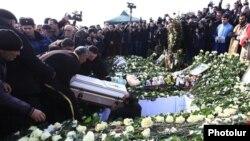 Armenia - Six-month-old Seryozha Avetisian is buried in Gyumri, 21Jan2015.