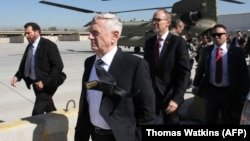 U.S. Secretary of Defense James Mattis (center) arrives in the Iraqi capital, Baghdad.