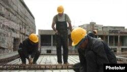 Armenia -- A construction site in Yerevan, undated
