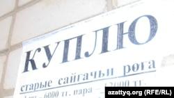 Одно из объявлений о покупке сайгачьих рогов. Актобе, 13 июня 2012 года.