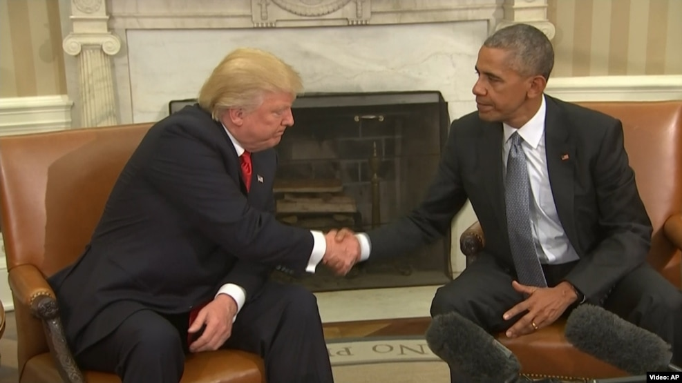 "U.S. President Barack Obama (right) said President-elect Donald Trump must ""respect"" U.S. institutions and warned that there was a difference between governing and campaigning."