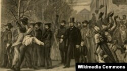 Президент Линкольн в столице побежденной Конфедерации Ричмонде. 31 апреля 1865 года. Художник Джон Эбботт. 1882