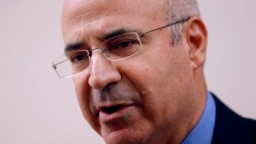 William Browder talks to reporters after leaving the antigraft prosecutor's office in Madrid in May.