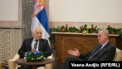 The decision by Serbian President Tomislav Nikolic (right) to meet with convicted war criminal Momcilo Krajisnik on January 11 has raised hackles in Bosnia-Herzegovina.