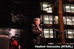Вацлав Гавел выступает на Вацлавской площади. Снимок Владимира Ведрашко. 2009 год.