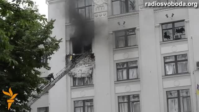 Наслідки вибуху в Луганській ОДА