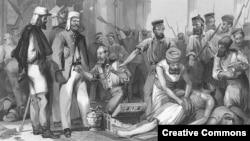 Британские солдаты грабят дворец в Лакхнау (Индия) при подавлении восстания сипаев, 1857 год. Гравюра конца XIX века