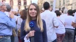 Митинги против итогов референдума в Каталонии (видео)