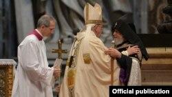 Roma Papası və erməni katolik kilsəsi başçısı Qaregin, 12Apr2015