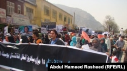Hundreds of Afghans marched in Kabul against the Taliban, Pakistani, and NATO presence in Afghanistan on October 6.