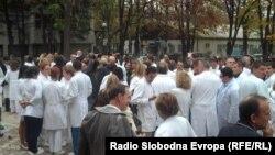 Штрајк на лекарите во Клинички центар во Скопје.