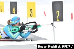 Казахстанская биатлонистка Галина Вишневская.