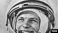 Soviet Union -- Yury Gagarin before space flight, 12Apr1961
