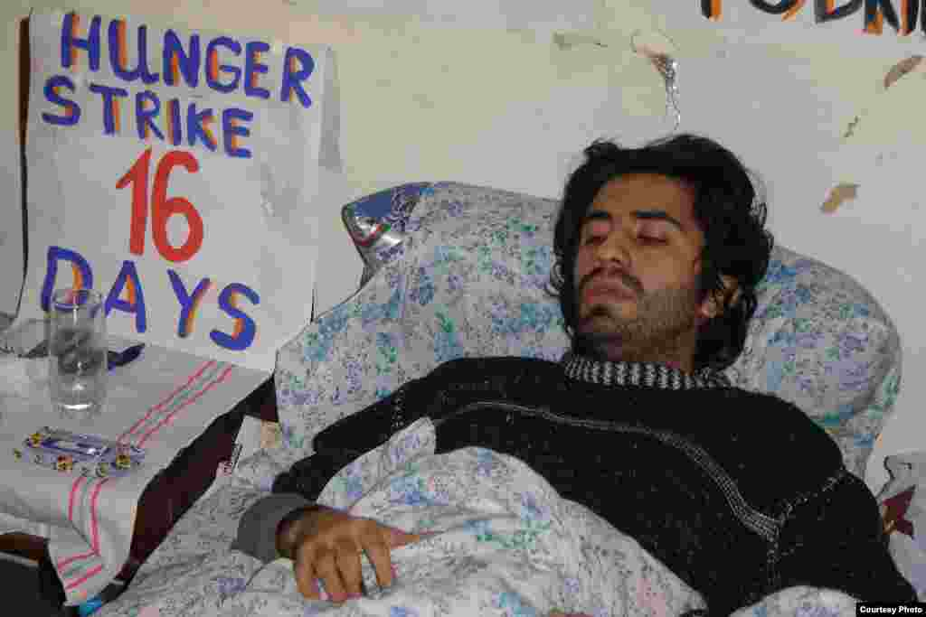 Azerbaijan - Emin Huseynov in hunger strike protesting dismissal of students Turan Aliyev and Namik Feyziyev from their universities, Jan2006 - Azerbaijani youth activists have also adopted the hunger strike as a protest strategy. Emin Huseynov, shown here in January 2006, was hospitalized after 16 days without food. He and his fellow activists were protesting the expulsion of two students from their university, apparently for their opposition views.