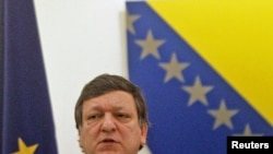 European Commission President Jose Manuel Barroso during a visit to Sarajevo on April 8
