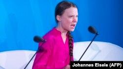 ԱՄՆ - Բնապահպան ակտիվիստ Գրետա Թունբերգը ելույթ է ունենում ՄԱԿ-ի կլիմայի փոփոխություններին նվիրված խորհրդաժողովում, Նյու Յորք, 23-ը սեպտեմբերի, 2019թ․