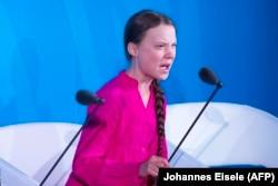 Грэта Тунбэрг (Greta Thunberg) падчас выступу ў ААН