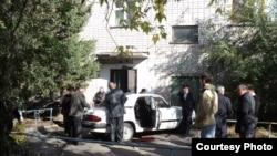 The scene in the eastern Kazakh city of Oskemen where Valery Proskuryakov was gunned down on October 13.
