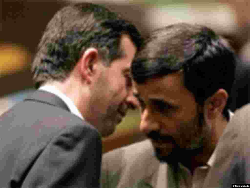 Iran -- Esfandiar Rahim-Mashaei; Iran's vice president (L) & Mahmud Ahmadinejad, 2008 - http://www.mashaei.ir/ Mashaei, Mashaee